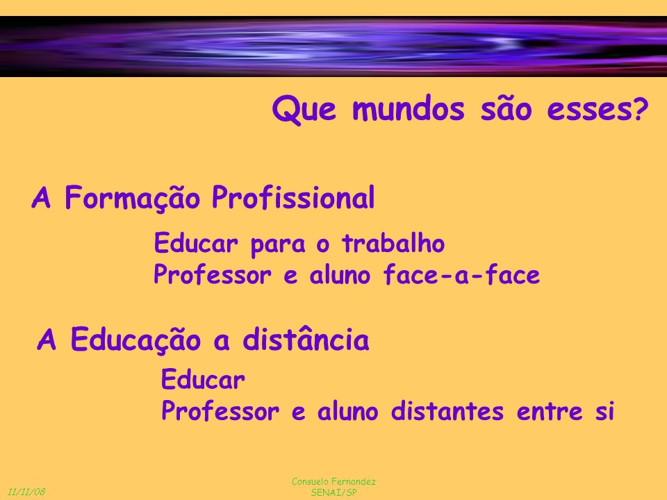 11/11/08 Consuelo Fernandez SENAI/SP A distância física e a psicológica Questões de apoio ao educando Suporte familiar e profissional Experiência anterior com EAD Nível e tipo de interação Estilo de aprendizagem