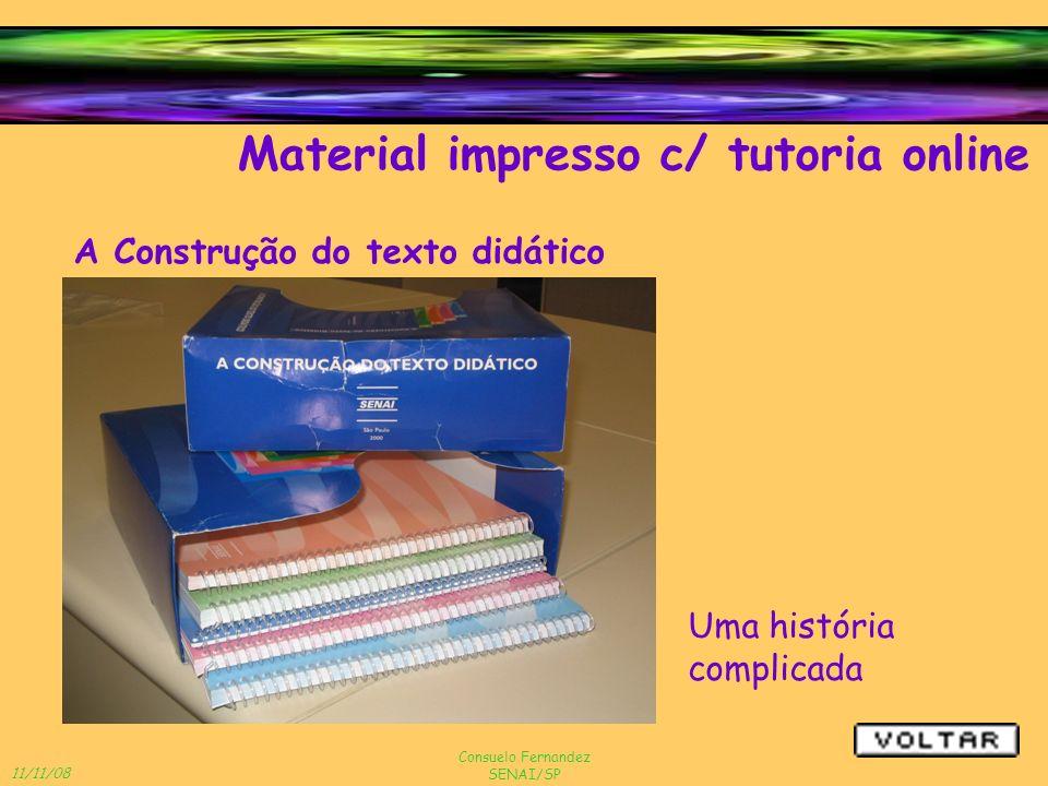 11/11/08 Consuelo Fernandez SENAI/SP Material impresso c/ tutoria online A Construção do texto didático Uma história complicada