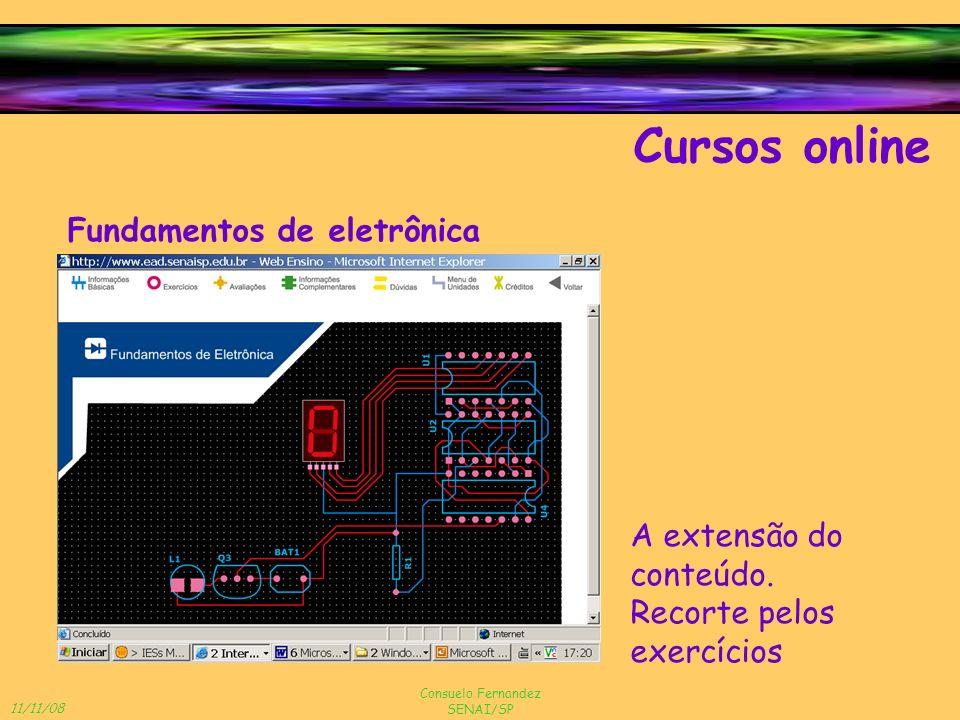 11/11/08 Consuelo Fernandez SENAI/SP Cursos online Fundamentos de eletrônica A extensão do conteúdo. Recorte pelos exercícios