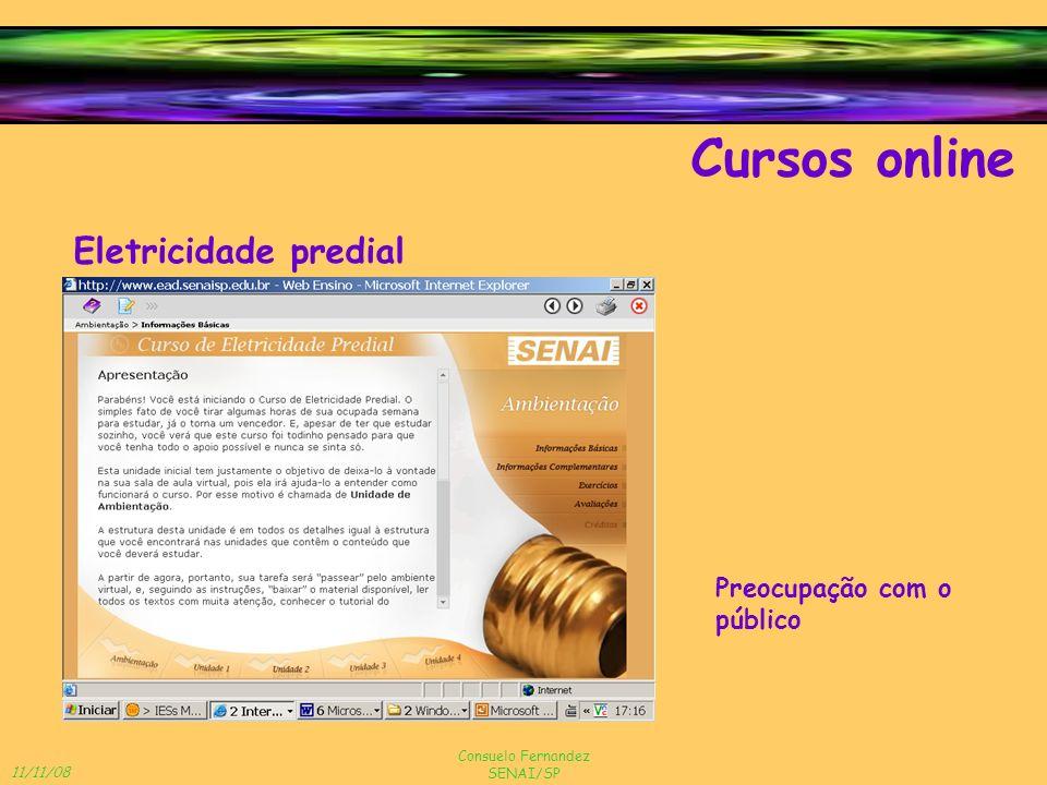 11/11/08 Consuelo Fernandez SENAI/SP Cursos online Eletricidade predial Preocupação com o público