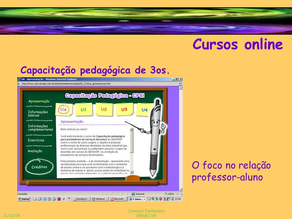 11/11/08 Consuelo Fernandez SENAI/SP Cursos online Capacitação pedagógica de 3os. O foco no relação professor-aluno