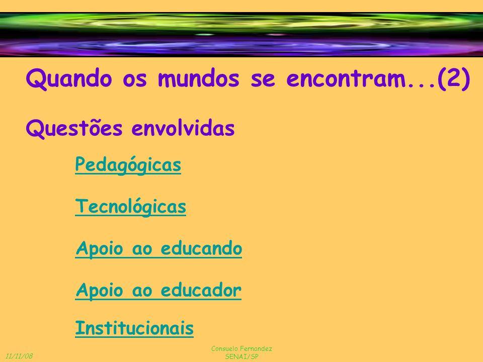 11/11/08 Consuelo Fernandez SENAI/SP Questões envolvidas Pedagógicas Quando os mundos se encontram...(2) Institucionais Apoio ao educando Tecnológicas