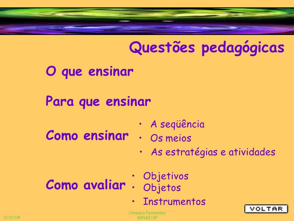 11/11/08 Consuelo Fernandez SENAI/SP O que ensinar Questões pedagógicas Como ensinar Para que ensinar Como avaliar A seqüência Os meios As estratégias