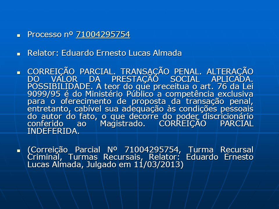 Processo nº 71004295754 Processo nº 7100429575471004295754 Relator: Eduardo Ernesto Lucas Almada Relator: Eduardo Ernesto Lucas Almada CORREIÇÃO PARCIAL.