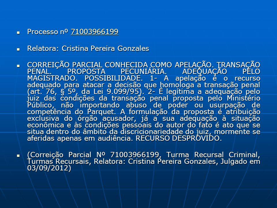 Processo nº 71003966199 Processo nº 7100396619971003966199 Relatora: Cristina Pereira Gonzales Relatora: Cristina Pereira Gonzales CORREIÇÃO PARCIAL C