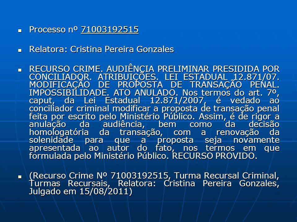 Processo nº 71003192515 Processo nº 7100319251571003192515 Relatora: Cristina Pereira Gonzales Relatora: Cristina Pereira Gonzales RECURSO CRIME. AUDI