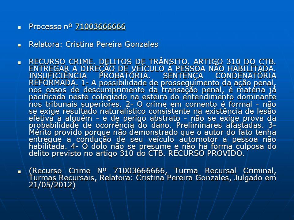 Processo nº 71003666666 Processo nº 7100366666671003666666 Relatora: Cristina Pereira Gonzales Relatora: Cristina Pereira Gonzales RECURSO CRIME. DELI
