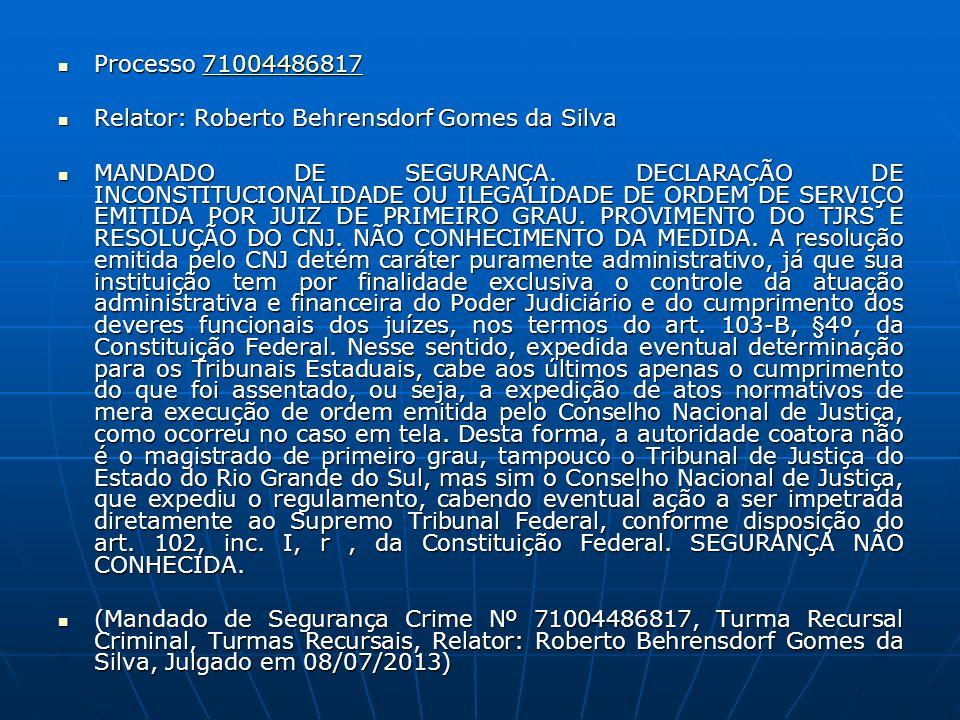Processo 71004486817 Processo 7100448681771004486817 Relator: Roberto Behrensdorf Gomes da Silva Relator: Roberto Behrensdorf Gomes da Silva MANDADO D