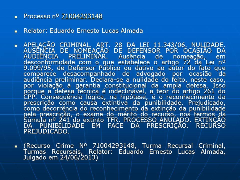 Processo nº 71004293148 Processo nº 7100429314871004293148 Relator: Eduardo Ernesto Lucas Almada Relator: Eduardo Ernesto Lucas Almada APELAÇÃO CRIMIN