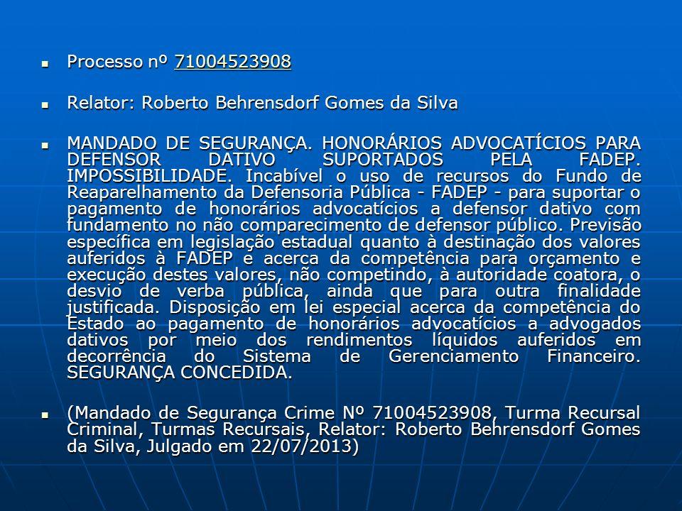 Processo nº 71004523908 Processo nº 7100452390871004523908 Relator: Roberto Behrensdorf Gomes da Silva Relator: Roberto Behrensdorf Gomes da Silva MANDADO DE SEGURANÇA.
