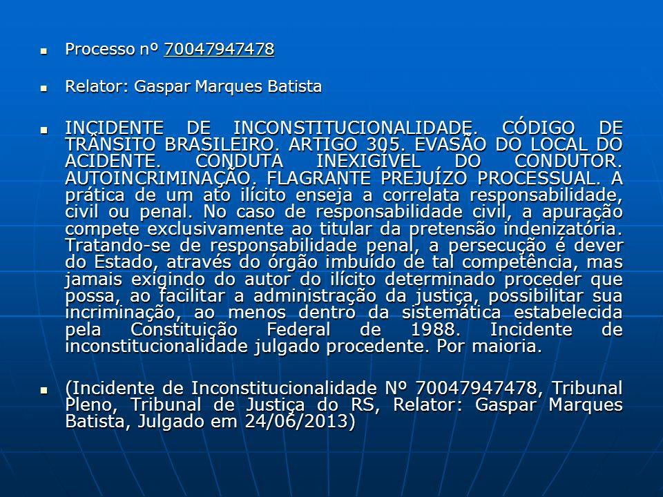 Processo nº 70047947478 Processo nº 7004794747870047947478 Relator: Gaspar Marques Batista Relator: Gaspar Marques Batista INCIDENTE DE INCONSTITUCION