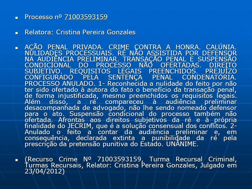 Processo nº 71003593159 Processo nº 7100359315971003593159 Relatora: Cristina Pereira Gonzales Relatora: Cristina Pereira Gonzales AÇÃO PENAL PRIVADA.
