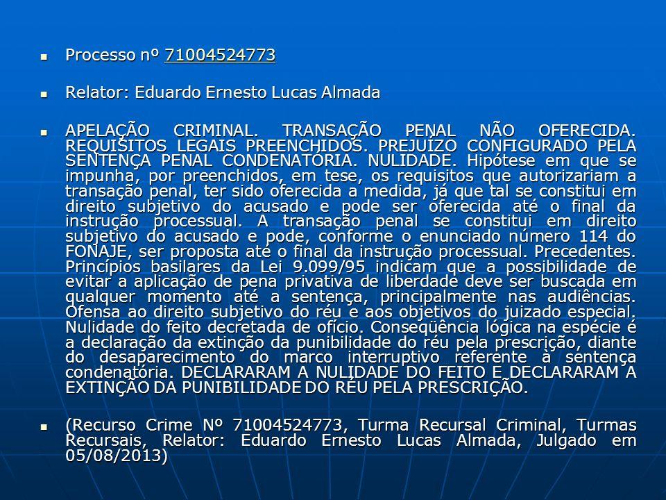 Processo nº 71004524773 Processo nº 7100452477371004524773 Relator: Eduardo Ernesto Lucas Almada Relator: Eduardo Ernesto Lucas Almada APELAÇÃO CRIMIN