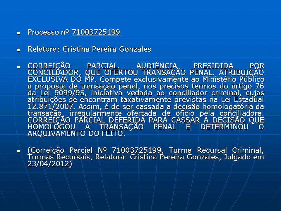 Processo nº 71003725199 Processo nº 7100372519971003725199 Relatora: Cristina Pereira Gonzales Relatora: Cristina Pereira Gonzales CORREIÇÃO PARCIAL.