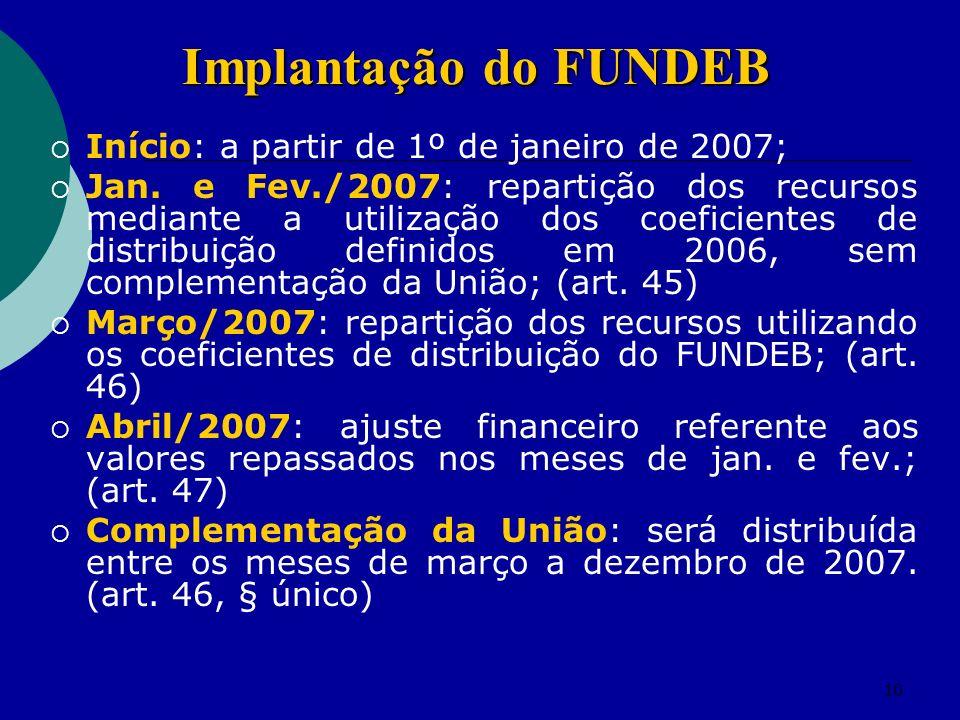 10 Início: a partir de 1º de janeiro de 2007; Jan. e Fev./2007: repartição dos recursos mediante a utilização dos coeficientes de distribuição definid