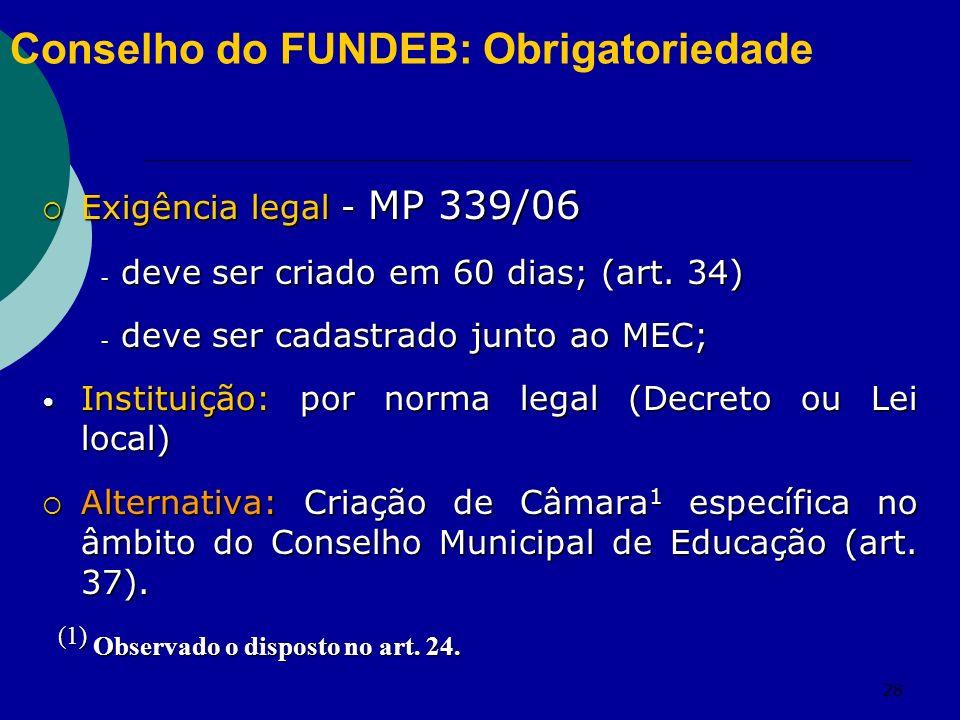 28 Conselho do FUNDEB: Obrigatoriedade Exigência legal - MP 339/06 Exigência legal - MP 339/06 - deve ser criado em 60 dias; (art. 34) - deve ser cada