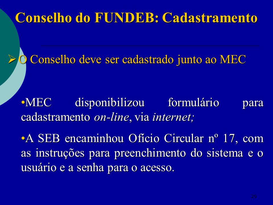 29 Conselho do FUNDEB: Cadastramento O Conselho deve ser cadastrado junto ao MEC O Conselho deve ser cadastrado junto ao MEC MEC disponibilizou formul