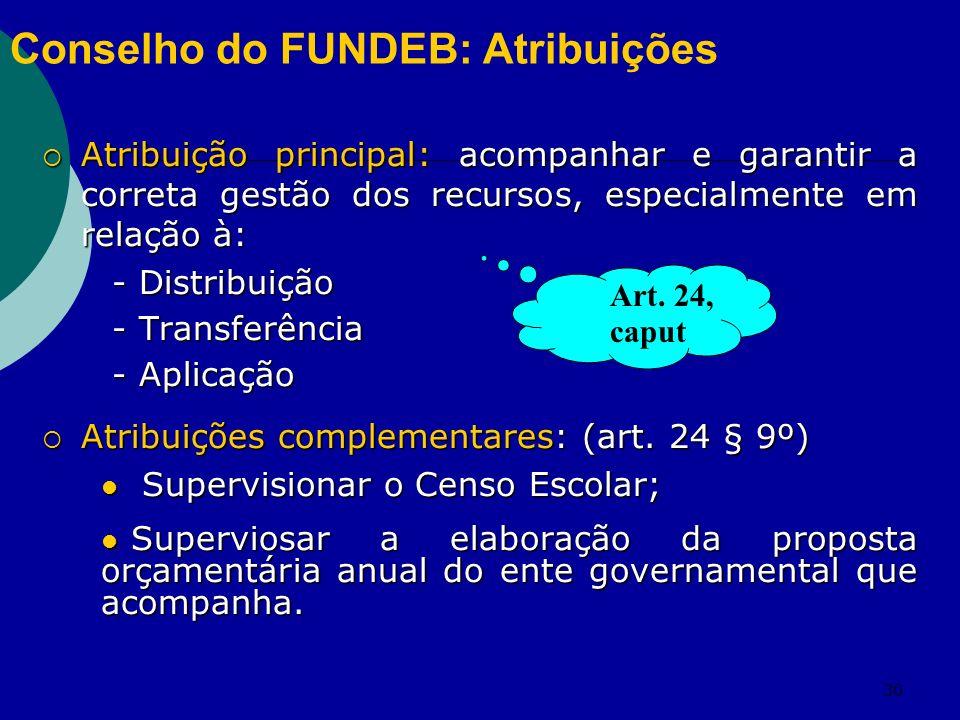 30 Conselho do FUNDEB: Atribuições Atribuição principal: acompanhar e garantir a correta gestão dos recursos, especialmente em relação à: Atribuição p