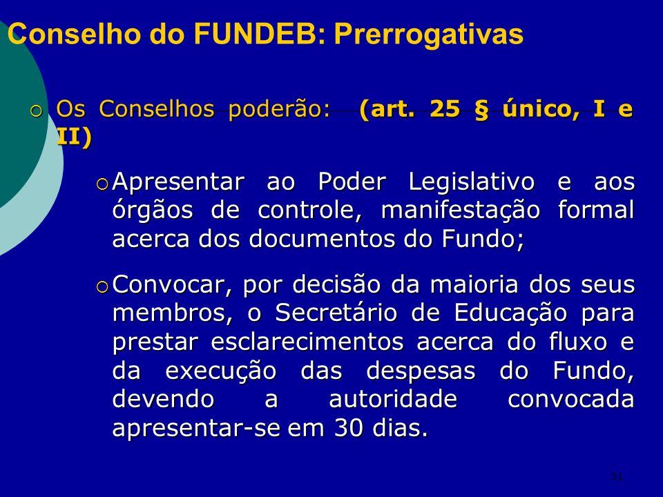 31 Conselho do FUNDEB: Prerrogativas Os Conselhos poderão: (art.