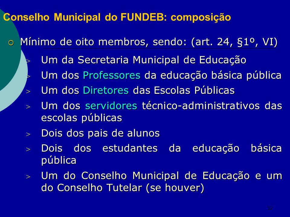 32 Conselho Municipal do FUNDEB: composição Mínimo de oito membros, sendo: (art. 24, §1º, VI) Mínimo de oito membros, sendo: (art. 24, §1º, VI) > Um d