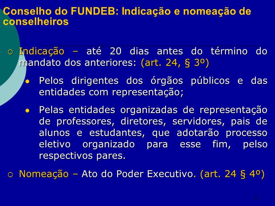33 Conselho do FUNDEB: Indicação e nomeação de conselheiros Indicação – até 20 dias antes do término do mandato dos anteriores: (art. 24, § 3º) Indica