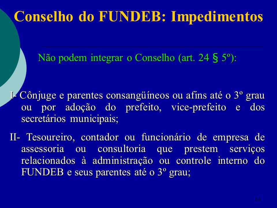34 Conselho do FUNDEB: Impedimentos Não podem integrar o Conselho (art. 24 § 5º): I- Cônjuge e parentes consangüíneos ou afins até o 3º grau ou por ad