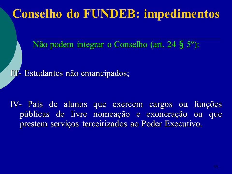 35 Conselho do FUNDEB: impedimentos Não podem integrar o Conselho (art. 24 § 5º): III- Estudantes não emancipados; IV- Pais de alunos que exercem carg