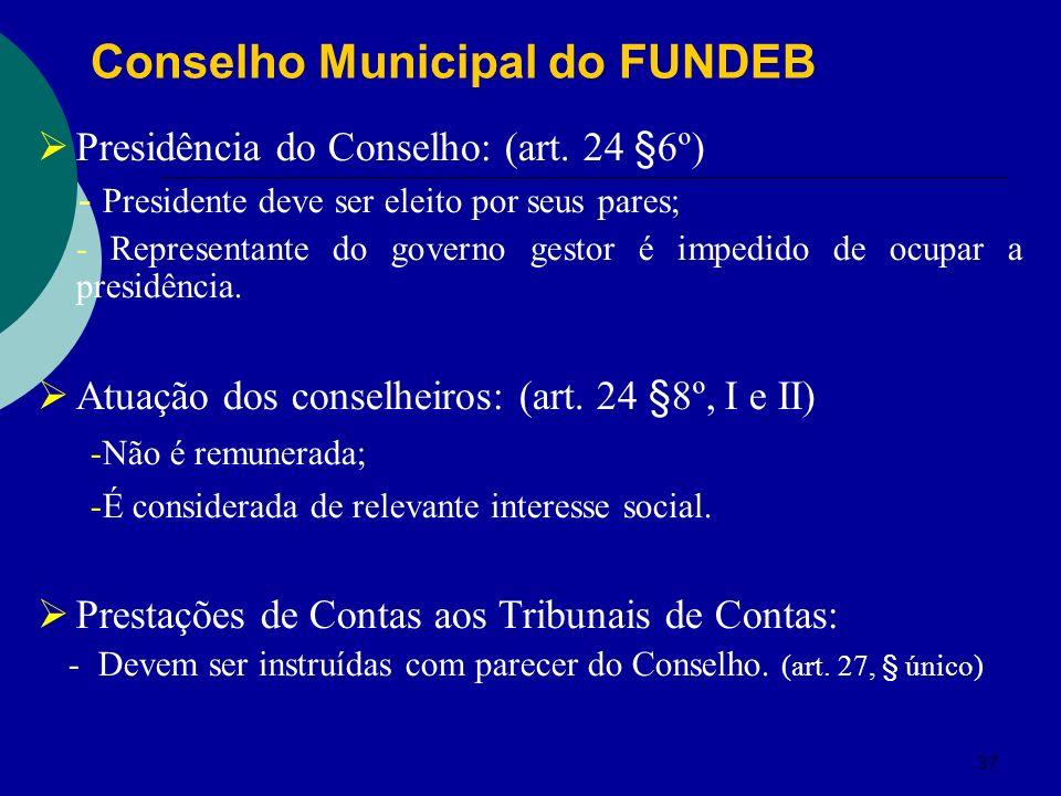 37 Presidência do Conselho: (art. 24 §6º) - Presidente deve ser eleito por seus pares; - Representante do governo gestor é impedido de ocupar a presid
