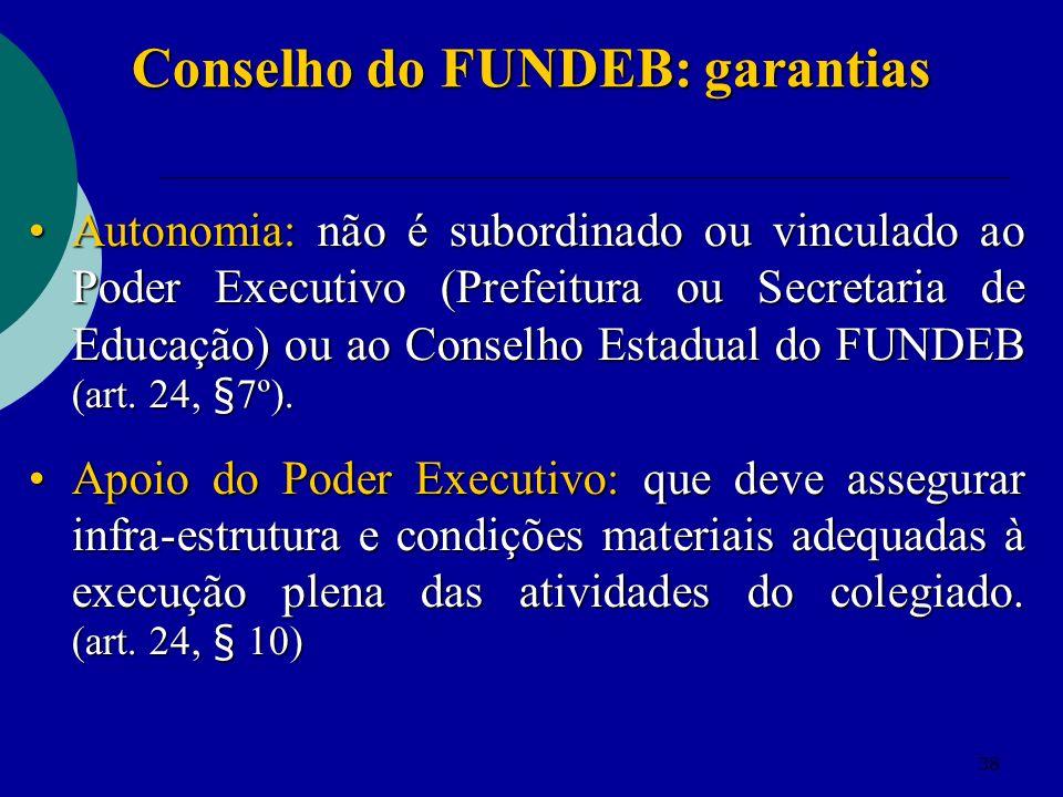 38 Conselho do FUNDEB: garantias Autonomia: não é subordinado ou vinculado ao Poder Executivo (Prefeitura ou Secretaria de Educação) ou ao Conselho Es