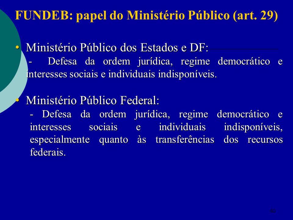 40 Ministério Público dos Estados e DF: Ministério Público dos Estados e DF: - Defesa da ordem jurídica, regime democrático e interesses sociais e individuais indisponíveis.
