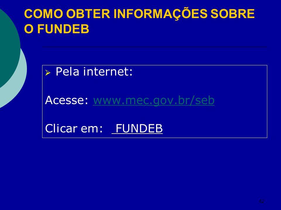 42 Pela internet: Acesse: www.mec.gov.br/sebwww.mec.gov.br/seb Clicar em: FUNDEB COMO OBTER INFORMAÇÕES SOBRE O FUNDEB