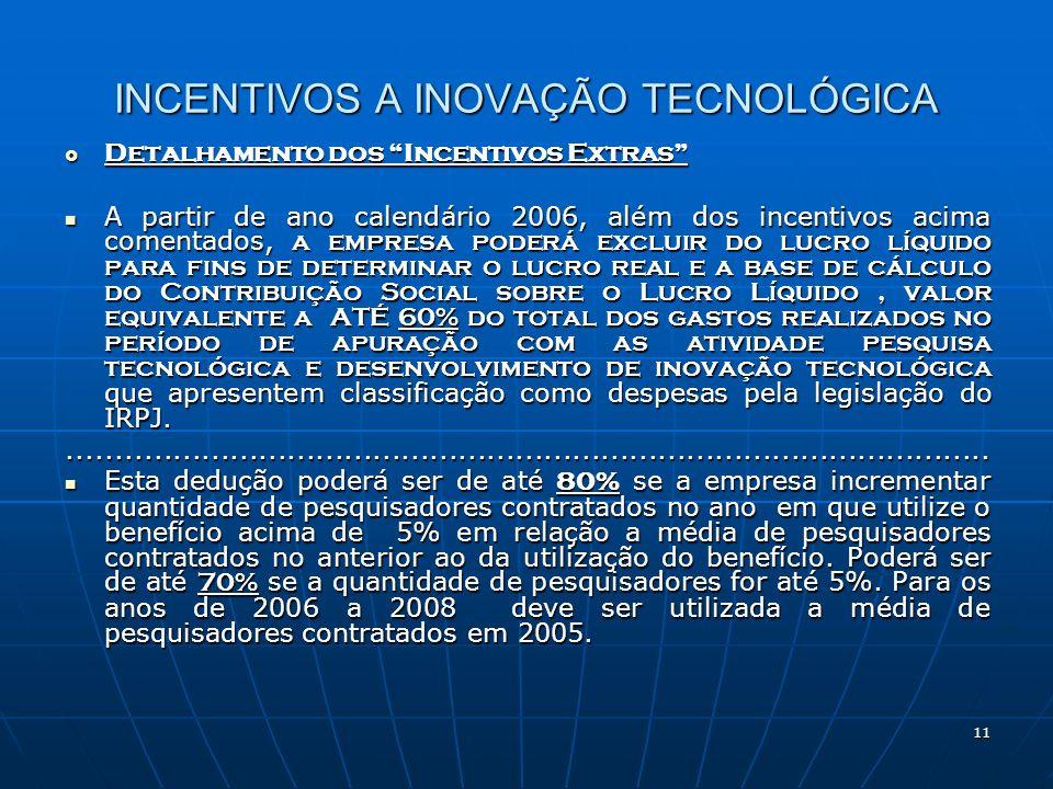 11 INCENTIVOS A INOVAÇÃO TECNOLÓGICA Detalhamento dos Incentivos Extras Detalhamento dos Incentivos Extras A partir de ano calendário 2006, além dos i