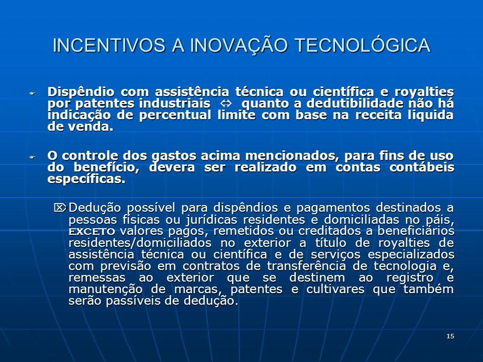 15 INCENTIVOS A INOVAÇÃO TECNOLÓGICA Dispêndio com assistência técnica ou científica e royalties por patentes industriais quanto a dedutibilidade não