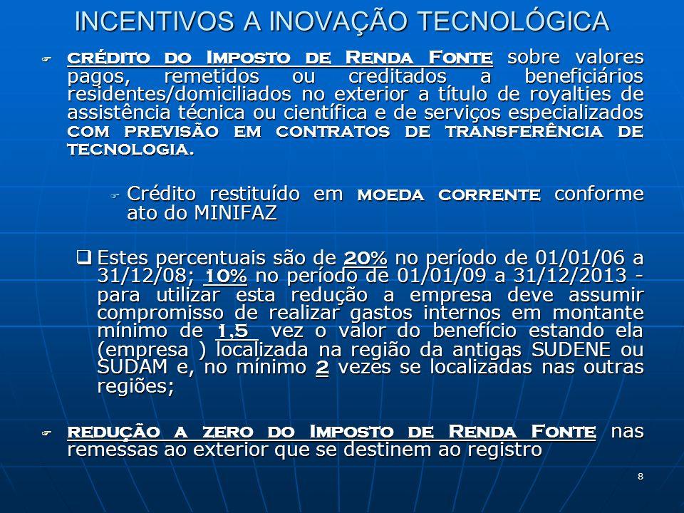 9 INCENTIVOS A INOVAÇÃO TECNOLÓGICA DESPESAS DEDUTÍVEIS / OPERACIONAIS DESPESAS DEDUTÍVEIS / OPERACIONAIS Como despesas dedutíveis ( despesas operacionais ), poderão ser consideradas, também, as importâncias transferidas ÀS microempresas e empresas de pequeno porte, que tenham como finalidade a realização, de interesse do investidor e por sua responsabilidade, de pesquisa e desenvolvimento de inovação tecnológica, mesmo que a recebedora do investimento tenha participação no resultado econômico do produto final do P&D.Como despesas dedutíveis ( despesas operacionais ), poderão ser consideradas, também, as importâncias transferidas ÀS microempresas e empresas de pequeno porte, que tenham como finalidade a realização, de interesse do investidor e por sua responsabilidade, de pesquisa e desenvolvimento de inovação tecnológica, mesmo que a recebedora do investimento tenha participação no resultado econômico do produto final do P&D.