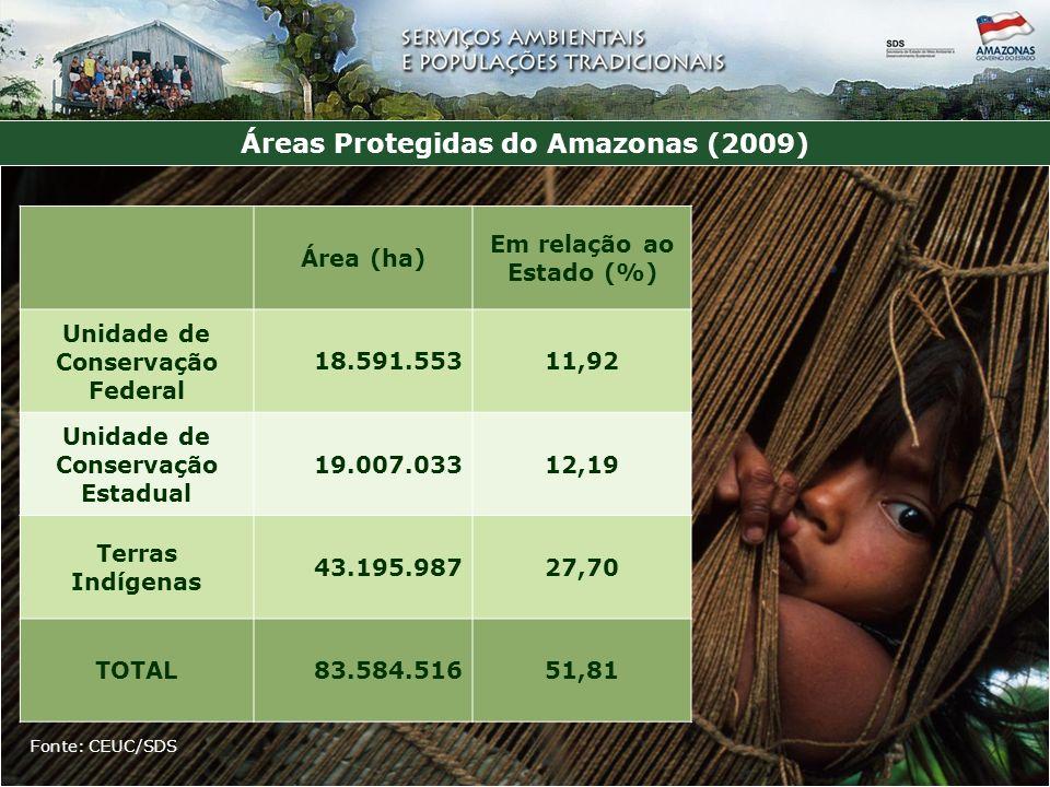 Áreas Protegidas do Amazonas (2009) Fonte: CEUC/SDS Área (ha) Em relação ao Estado (%) Unidade de Conservação Federal 18.591.55311,92 Unidade de Conservação Estadual 19.007.03312,19 Terras Indígenas 43.195.98727,70 TOTAL83.584.51651,81