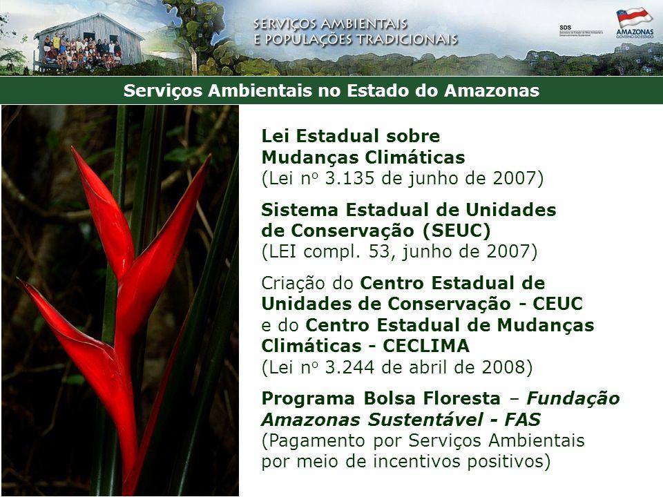 Serviços Ambientais no Estado do Amazonas Lei Estadual sobre Mudanças Climáticas (Lei n o 3.135 de junho de 2007) Sistema Estadual de Unidades de Conservação (SEUC) (LEI compl.