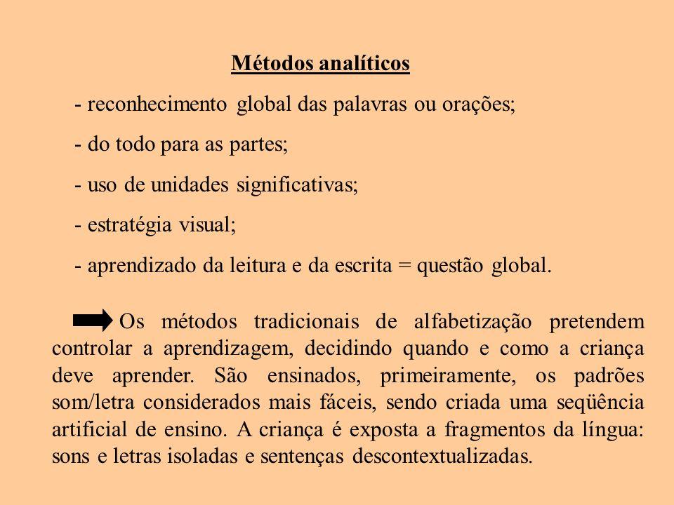 Métodos analíticos - reconhecimento global das palavras ou orações; - do todo para as partes; - uso de unidades significativas; - estratégia visual; -