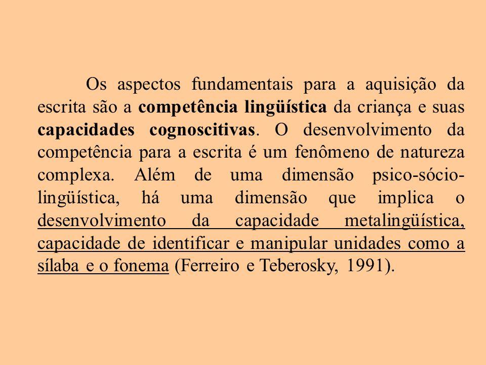 Os aspectos fundamentais para a aquisição da escrita são a competência lingüística da criança e suas capacidades cognoscitivas. O desenvolvimento da c