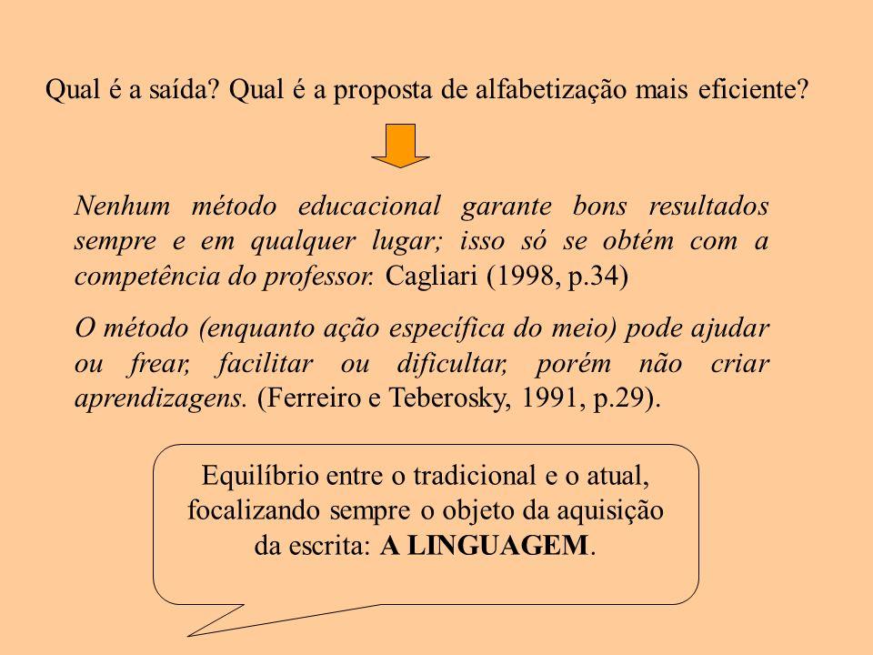 Qual é a saída? Qual é a proposta de alfabetização mais eficiente? Nenhum método educacional garante bons resultados sempre e em qualquer lugar; isso