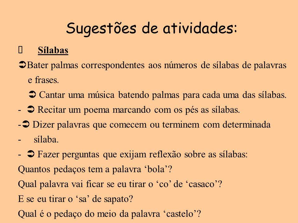 Sugestões de atividades: Sílabas Bater palmas correspondentes aos números de sílabas de palavras e frases. Cantar uma música batendo palmas para cada