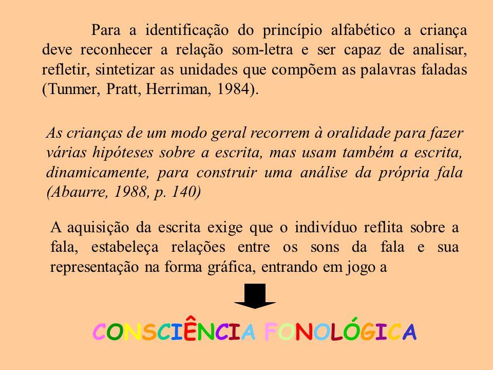Para a identificação do princípio alfabético a criança deve reconhecer a relação som-letra e ser capaz de analisar, refletir, sintetizar as unidades q