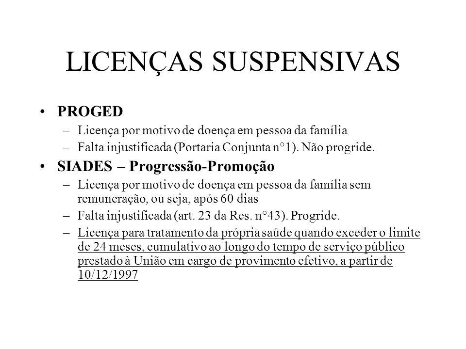 LICENÇAS SUSPENSIVAS PROGED –Licença por motivo de doença em pessoa da família –Falta injustificada (Portaria Conjunta n°1). Não progride. SIADES – Pr