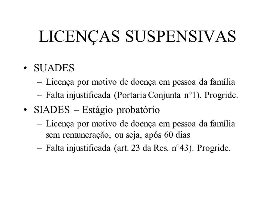 LICENÇAS SUSPENSIVAS SUADES –Licença por motivo de doença em pessoa da família –Falta injustificada (Portaria Conjunta n°1).