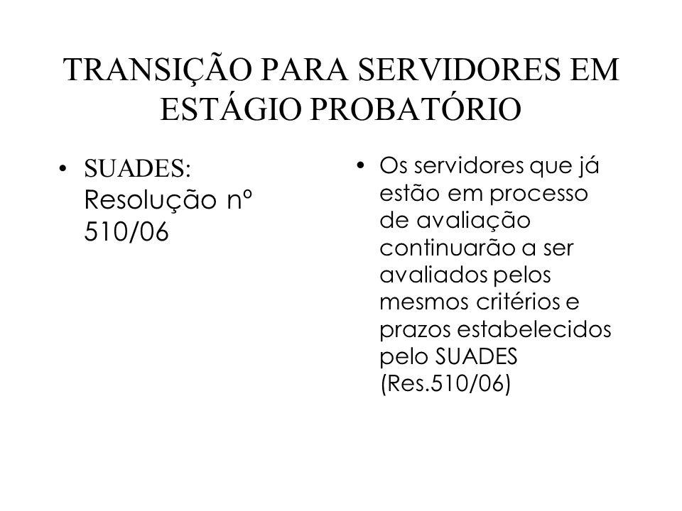 TRANSIÇÃO PARA SERVIDORES EM ESTÁGIO PROBATÓRIO SUADES: Resolução nº 510/06 Os servidores que já estão em processo de avaliação continuarão a ser aval