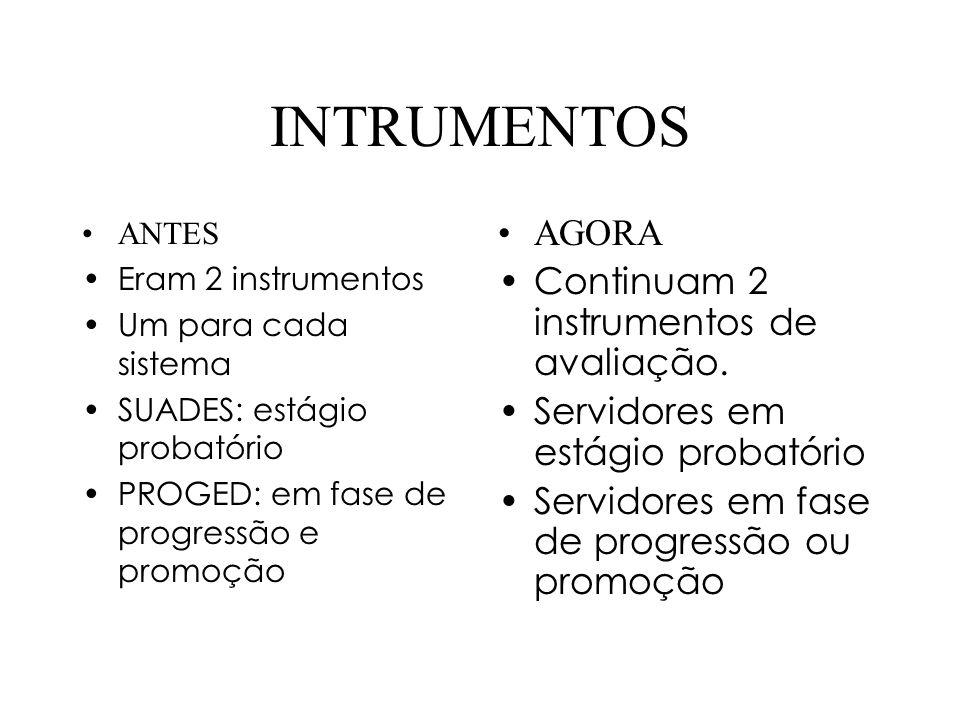 INTRUMENTOS ANTES Eram 2 instrumentos Um para cada sistema SUADES: estágio probatório PROGED: em fase de progressão e promoção AGORA Continuam 2 instrumentos de avaliação.