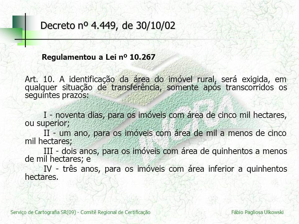 Serviço de Cartografia SR(09) - Comitê Regional de CertificaçãoFábio Pagliosa Ulkowski Decreto nº 4.449, de 30/10/02 Regulamentou a Lei nº 10.267 Art.