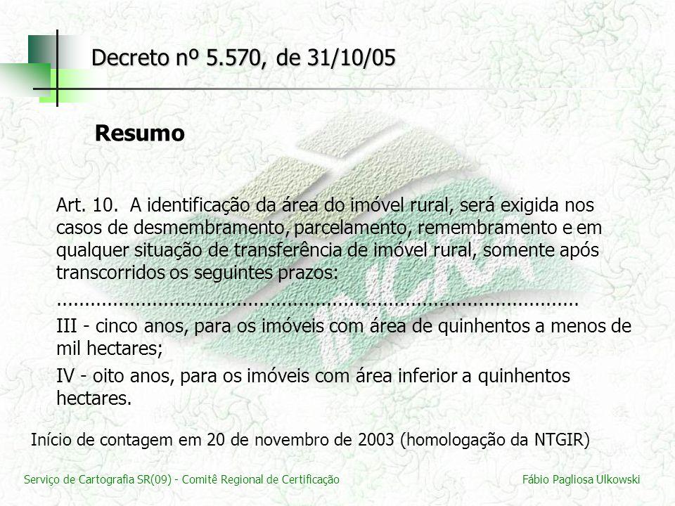 Serviço de Cartografia SR(09) - Comitê Regional de CertificaçãoFábio Pagliosa Ulkowski Decreto nº 5.570, de 31/10/05 Art. 10. A identificação da área