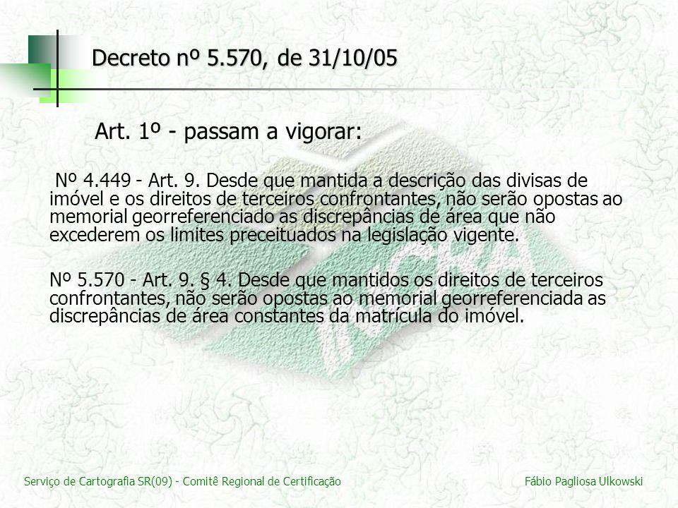 Serviço de Cartografia SR(09) - Comitê Regional de CertificaçãoFábio Pagliosa Ulkowski Decreto nº 5.570, de 31/10/05 Art. 1º - passam a vigorar: Nº 4.
