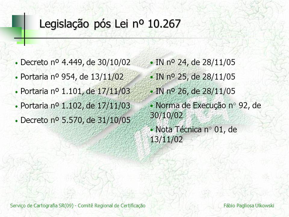 Serviço de Cartografia SR(09) - Comitê Regional de CertificaçãoFábio Pagliosa Ulkowski Decreto nº 4.449, de 30/10/02 Portaria nº 954, de 13/11/02 Port