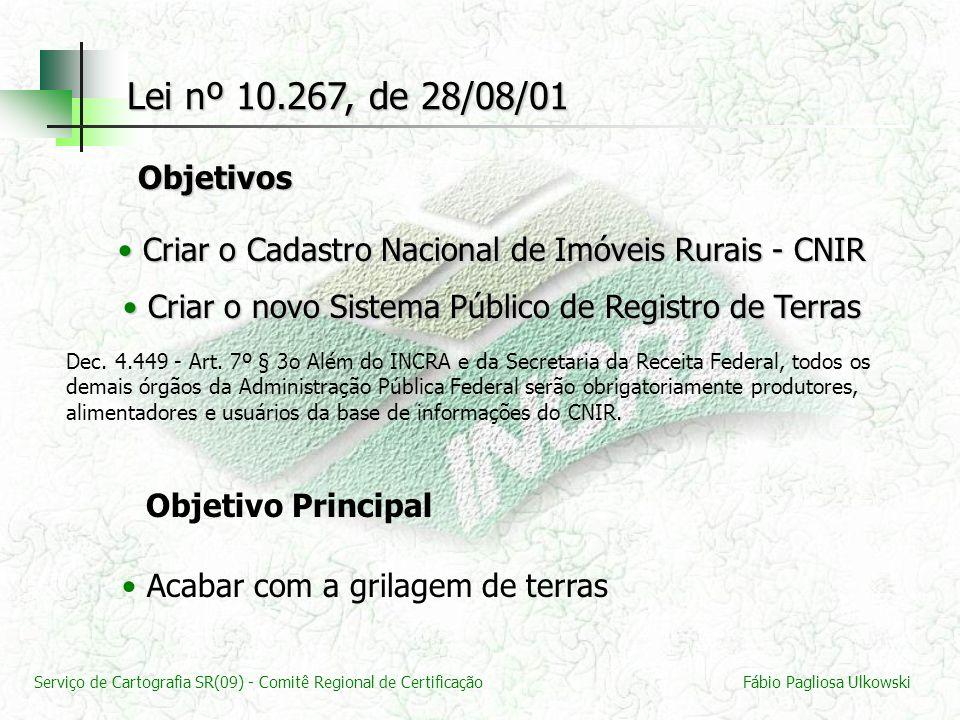 Serviço de Cartografia SR(09) - Comitê Regional de CertificaçãoFábio Pagliosa Ulkowski Criar o Cadastro Nacional de Imóveis Rurais - CNIR Criar o Cada